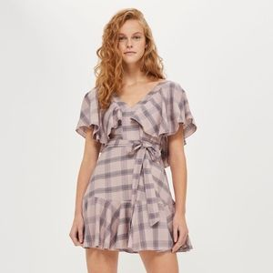 Topshop Rose Washed Check Frill Mini Dress US 4